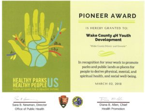 Cover photo for Wake County 4-H Wins Pioneer Award
